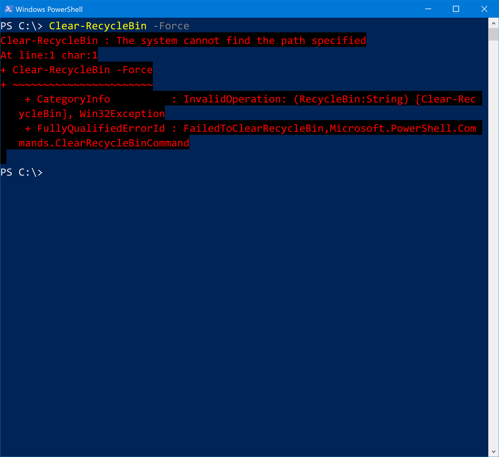 PowerShell codebase misuses SHEmptyRecycleBin function in Clear-RecycleBin cmdlet