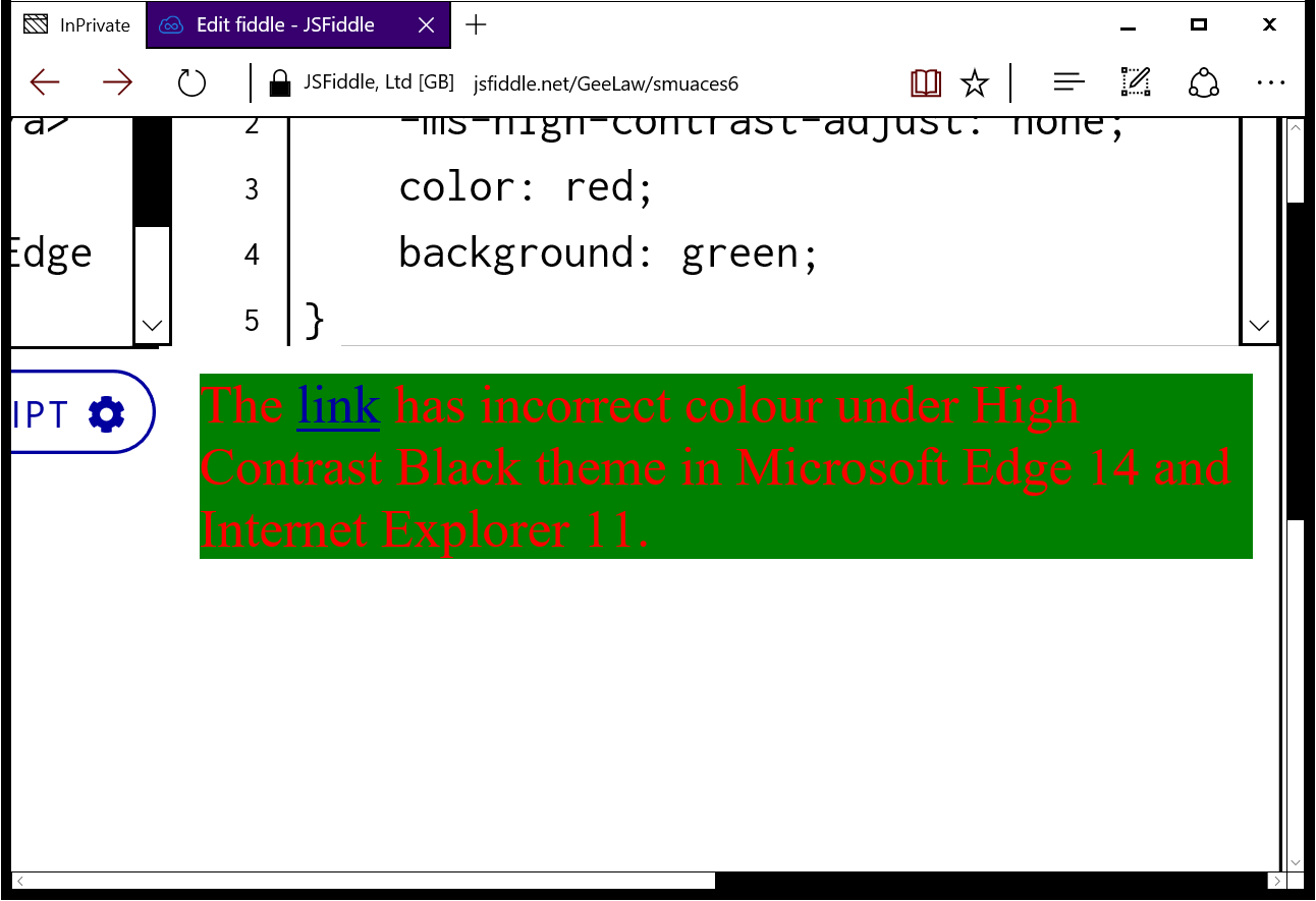 Microsoft Edge sometimes computes wrong colour in High Contrast theme